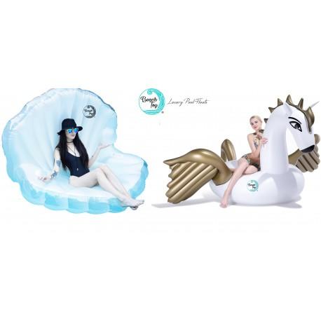 Beach Toy ® Coquillage Géant Gonflable avec perle + Licorne Géante Gonflable Pegasus
