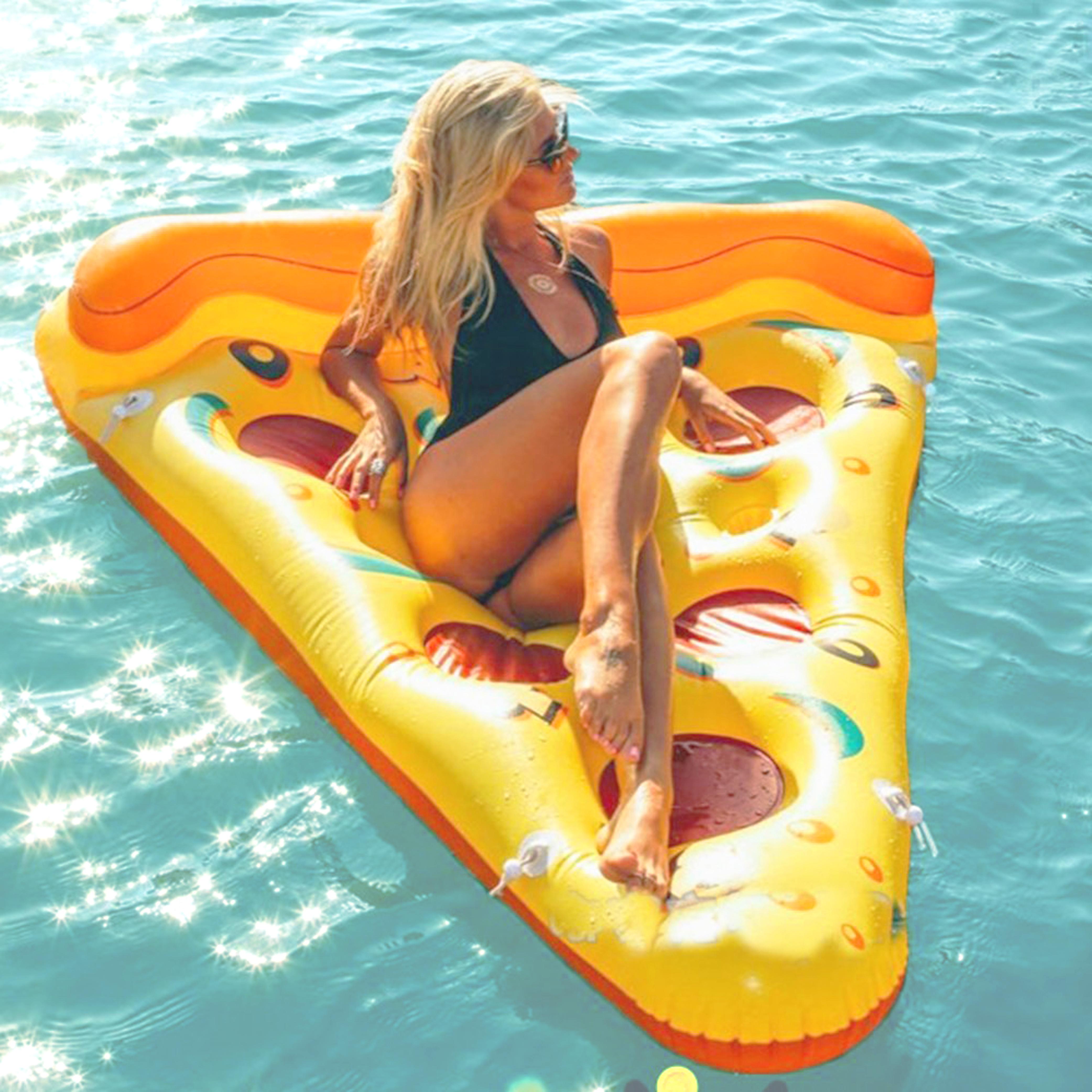 Matelas Bouée gonflable Pzza, fun, trendy, spécial pool party, bouée pour la piscine et la plage, matériel en PVC environnement, pour une personne, couleur Jaune, le meilleur des bouées pour l'été!